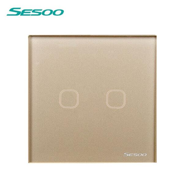 EU/UK Standard SESOO Touch Switch 2 Gang 1 Way,Crystal Glass Switch Panel,Single FireWire touch sensing wall switch ewelink eu uk standard 1 gang 1 way touch switch rf433 wall switch wireless remote control light switch for smart home backlight