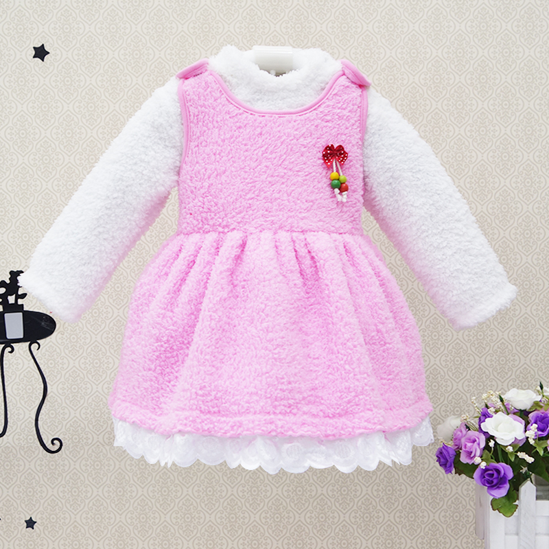 2017 New Style Coral velvet winter baby girls sleeveless princess dress kid clothes warm kidswear clothing suits infant costume