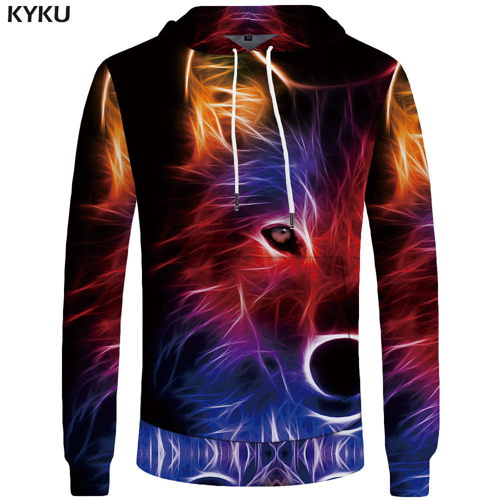 KYKU Wolf Hoodies Mens 3d Hoodies Luminous Big Size Hoddie Colorful Sweatshirt Animal Sweatshirts Men Clothing Cool 2018