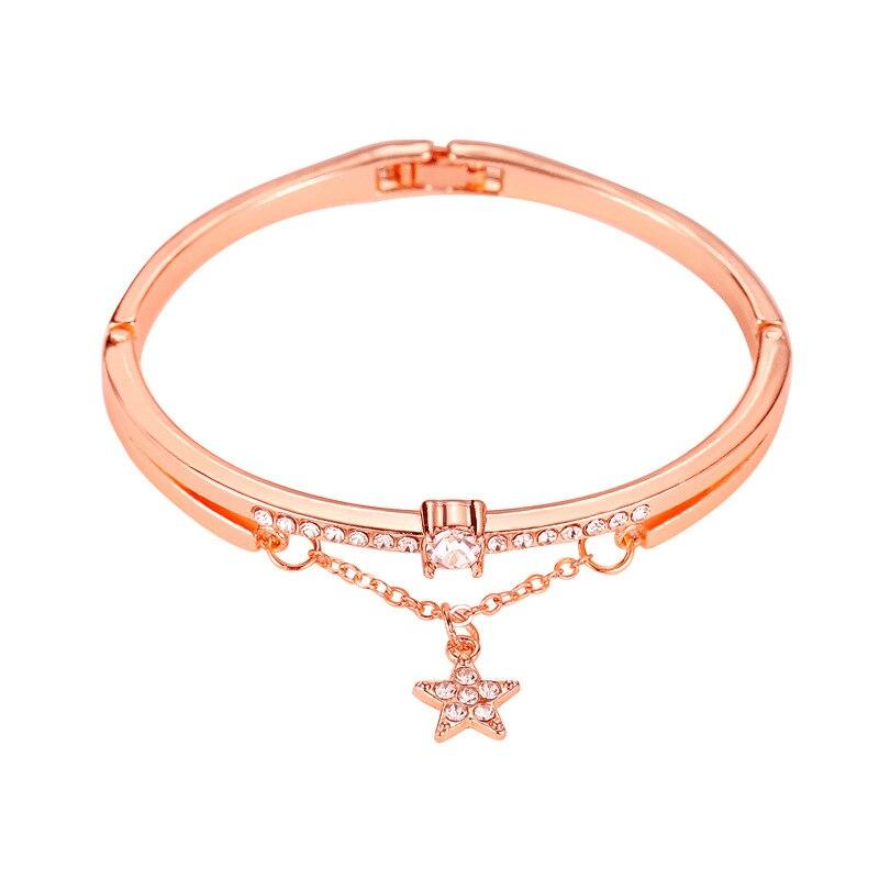 Роскошные браслеты из нержавеющей стали из розового золота, женские браслеты с сердцем, подвеска любовь, браслет для женщин, пара, женская бижутерия в подарок - Окраска металла: 4481