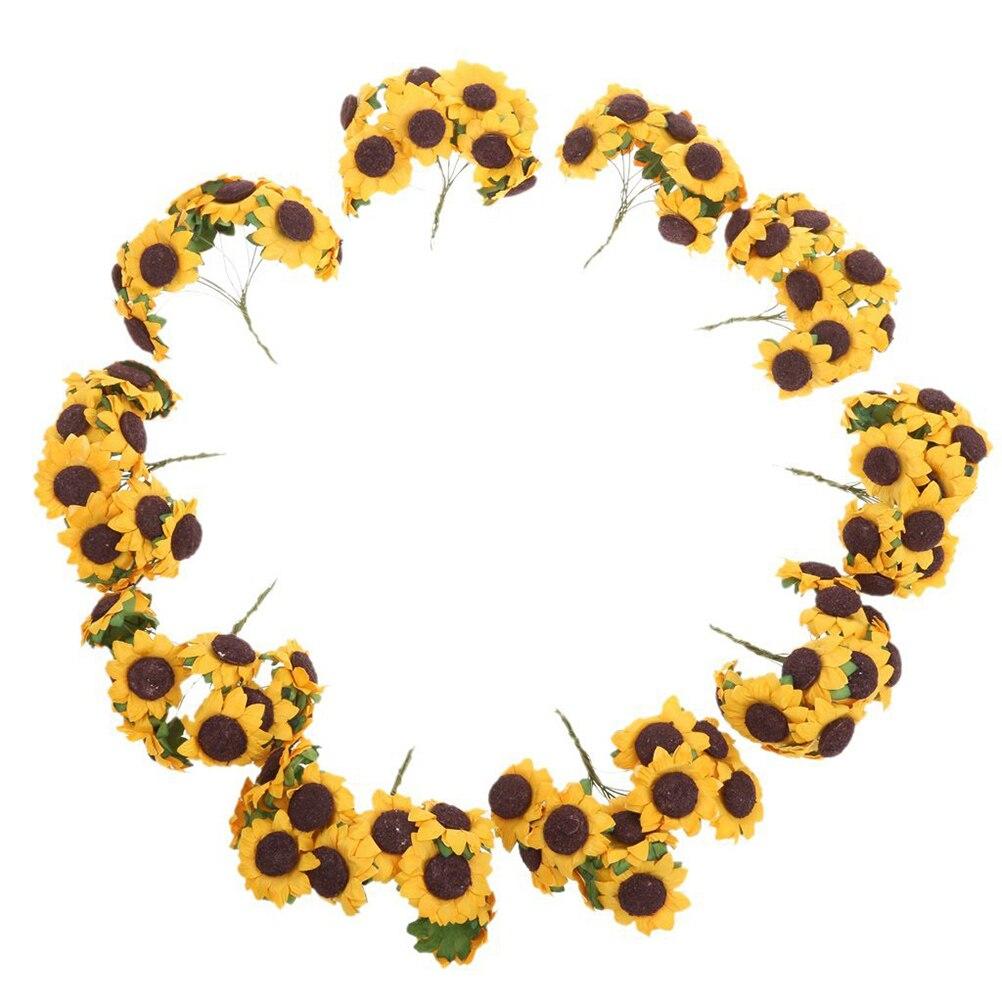 100pcs Chic Mini Artificial Paper Sunflower Wedding Card Decor Craft ...
