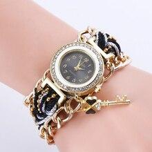 Relogio Feminino Women Native Handmade Quartz Clock Watch Knitted Rhinestone Key Female Watch Jewelry Relojes Mujer Drop Ship