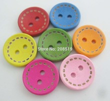 WBNWGO Fashion buttons 50pcs/lot Various colors children clothes sewing accessories 15mm/20mm/25mm wood Button