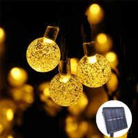 Neue 50 LEDS 10 M Kristall ball Solar Lampe Power LED String Fairy Lichter Solar Girlanden Garten Weihnachten Decor Für outdoor
