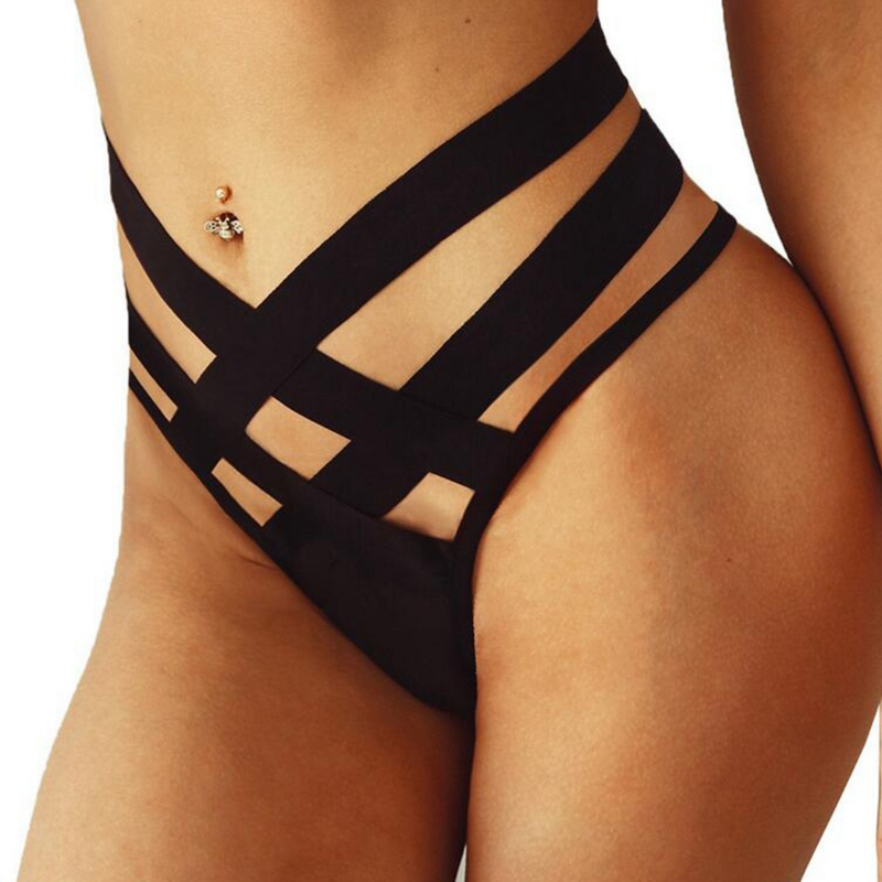 WJ 2019 Sexy Black Bandage Underwear Women Fashion High-Rise Ladies Thongs and G Strings Strap Hollow G-String   Panties   Imitation