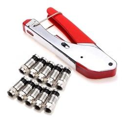 Coax Kompression Crimper F-Typ Koaxialkabel Crimp-werkzeug Zange Mit 10Pcs Rg6 Anschlüsse Für Abisolieren Zange