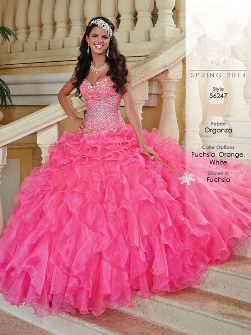 1c8cc3709e7 Hot Pink Quinceanera Dresses Fashionable Beads Custom Made vestidos de 15  anos Beautiful Ruffles Ball Gown vestidos de 15-in Quinceanera Dresses from  ...