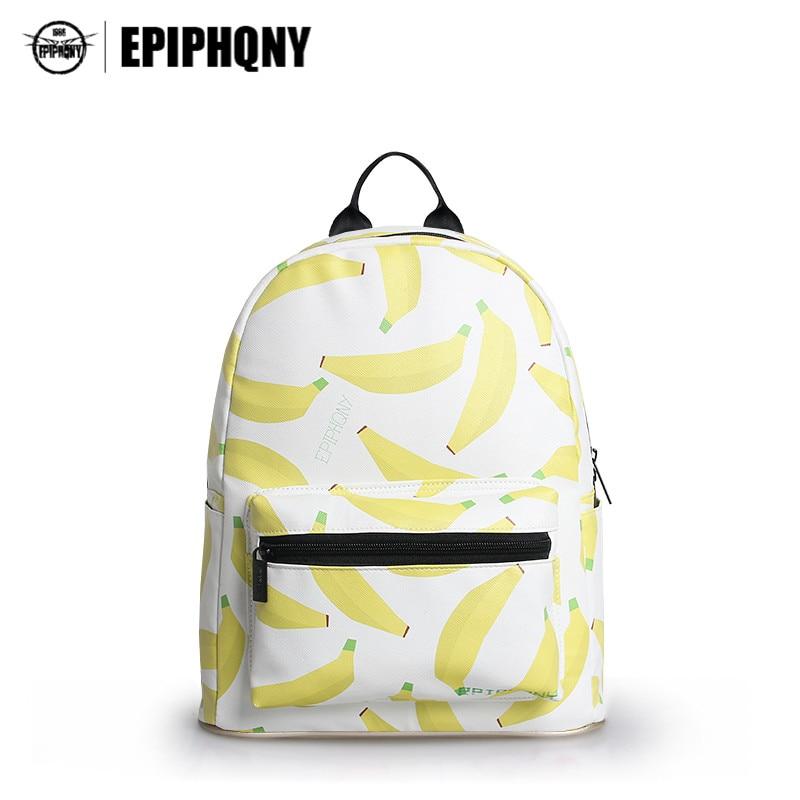 Famous Brand Fruit Plant Udskrivning Kawaii Backpack Gul Banana Mini Bookbag Cute Back Pack Skole Tasker til Teenage Girl