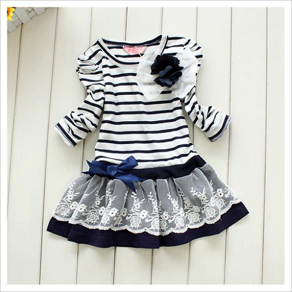 Newest Best Price Girls Kids Lace Dresses One-Pieces Long Sleeve Bowknot Flower Stripes Dress 1-6Y