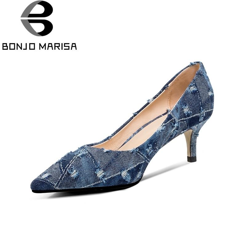 BONJOMARISA/бренд Новинка весны деним Женские ботинки с заостренным носком на высоком каблуке Слипоны женские офисные Туфли-лодочки