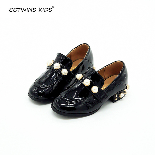 CCTWINS KIDS spring autumn boy fashion moccasin for baby girl brand pearl loafer toddler heeled pu leather slip-on chiildren