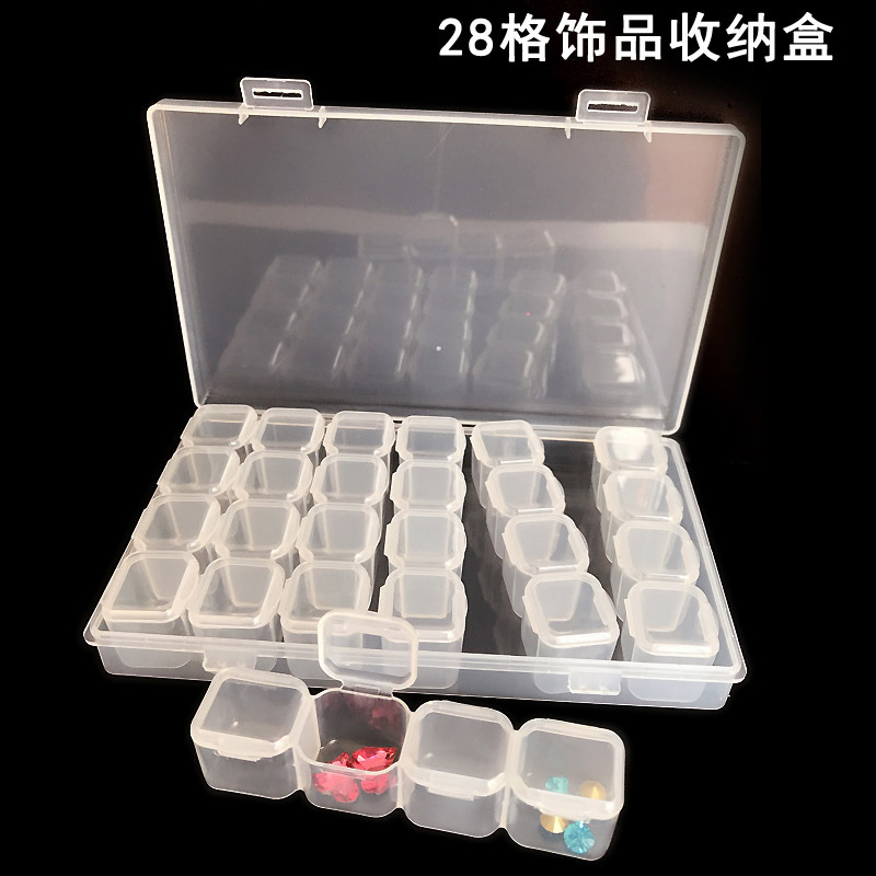 Купить с кэшбэком Nail Art Tools Jewelry Beads Storage Box Jewelry Beads Storage Containers Clear Plastic Box, 28 Grids , 17.3 x 10.5 x 2.5cm