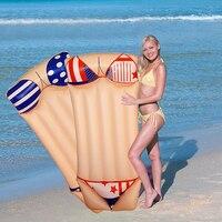 2018 Summer Water Pool Float 180*90 Inflatable Bikini Printed Swimming Float Tube Raft Beach Toys Giant Swim Ring for Adult Kids