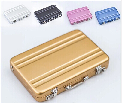Freeshipping 100pcs New Metal Mini Suitcase Business Bank Card Name Card Holder Case Box Puscard