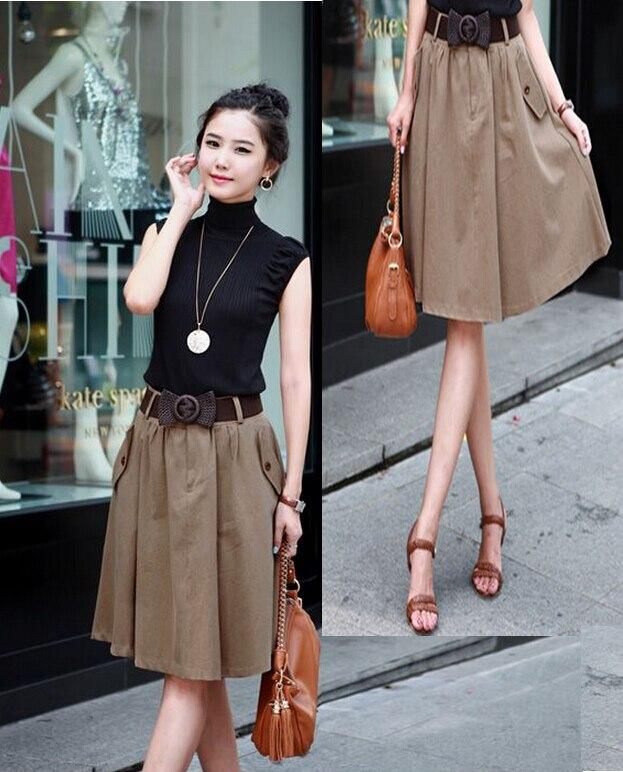 Aliexpress.com : Buy Women Midi Skirt High Waist Pockets Design ...