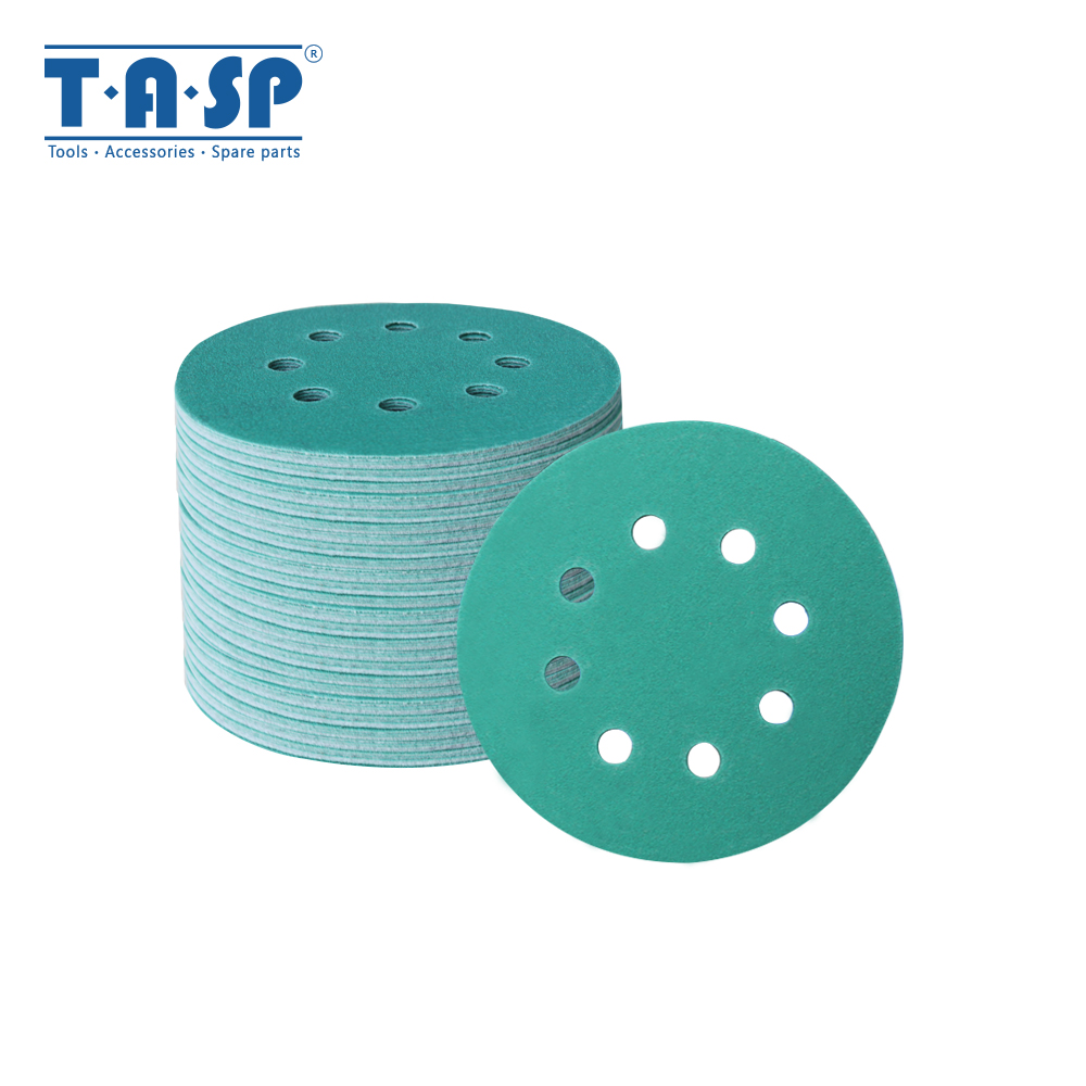 TASP 100pcs 125mm Wet And Dry Sandpaper 5'' Waterproof 8 Hole Anti Clog Sanding Discs 60-400 Grit Hook & Loop Film Backing