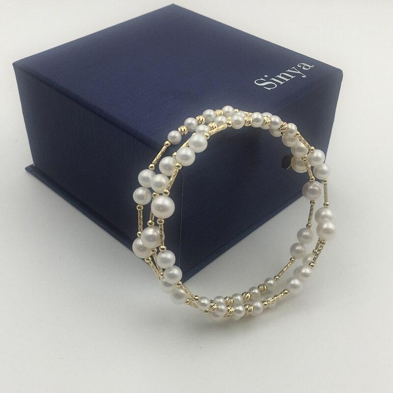 Sinya Natural pearls 18k AU750 gold tube beads Multi layer Bangles bracelet for women girl Mom lover 2019 New arrival Hot sale