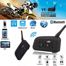 2PCS V6 Pro Motorcycle Helmet Bluetooth Headset Intercom 6 Riders 1200M Wireless Intercomunicador BT Interphone