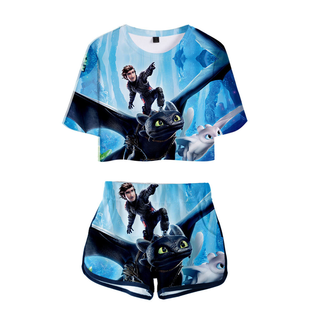 New adult How to Train Your Dragon Toothless 3 Cartoon Cosplay 3D printed fashion short sleeved shorts set costume