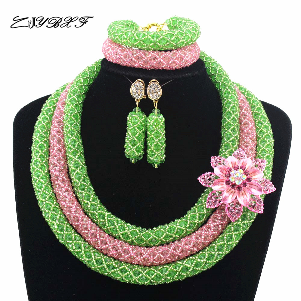 2019 Apple Green Pink African Beads Jewelry Sets Nigerian Wedding Jewelry Sets Full Beads Indian Bridal