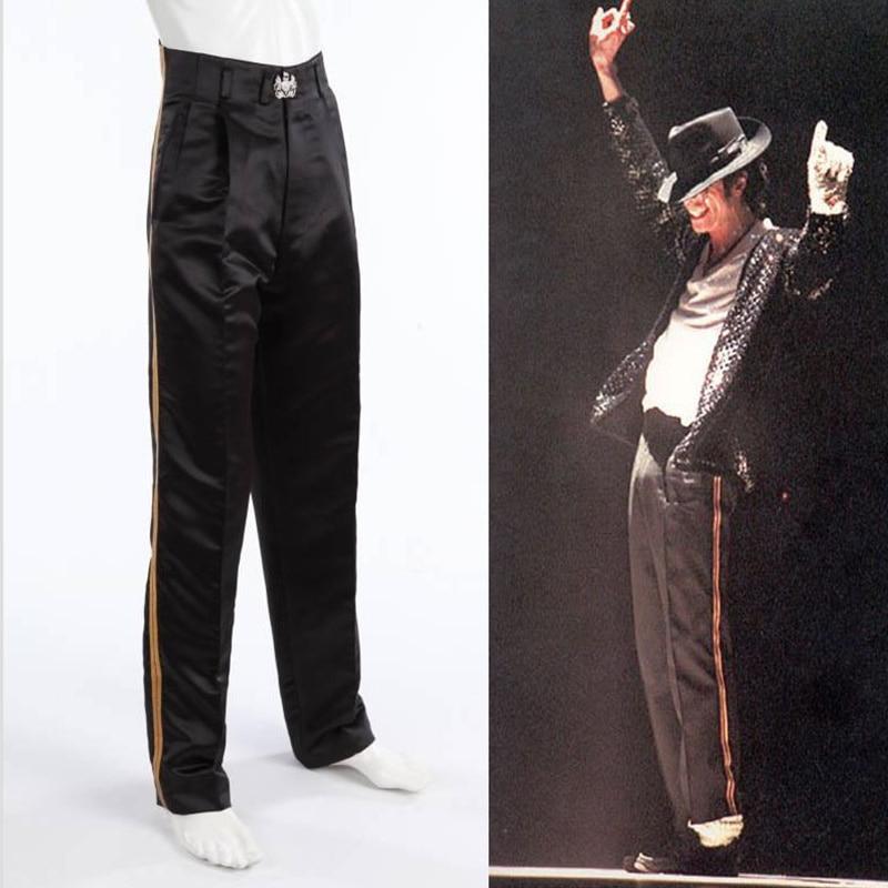 SexeMara Rare MJ Michael Jackson Black Entertainers Golden Straight  Trousers Pants For Fans Billie Jean