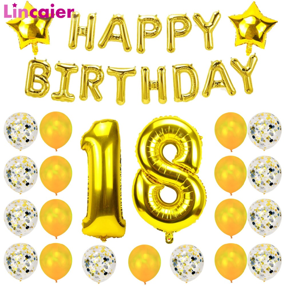 Lincaier 32 Inch 62cm Happy 18 Birthday Balloons 18th Years Party Decorations Man Girl Supplies