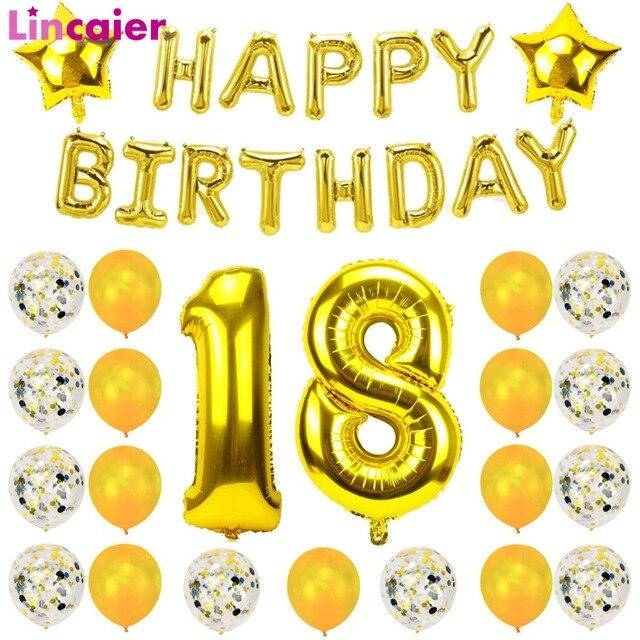 111 23 De Réductionlincaier 32 Pouces 62 Cm Joyeux 18 Anniversaire Ballons 18th Ans Décorations De Fête Homme Fille Fournitures Dans Ballons