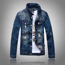 Men's Hiphop Clothes Spring Autumn Broken Hole Designer Jeans Jacket Men Ripped Denim Jacket Coat With Pockets Rivets