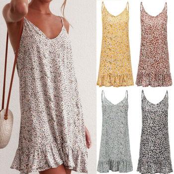 Summer Women Floral Print Loose Retro Party Evening Beach Short Mini Dress Holiday Sundress Spaghetti Strap Plus Size 1