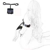 camaTech Adjustable PU Leather Bondage Arms Binder Handcuffs Restraint BDSM Wrist Cuffs Harness Bondage Fetish Slave Adult Games