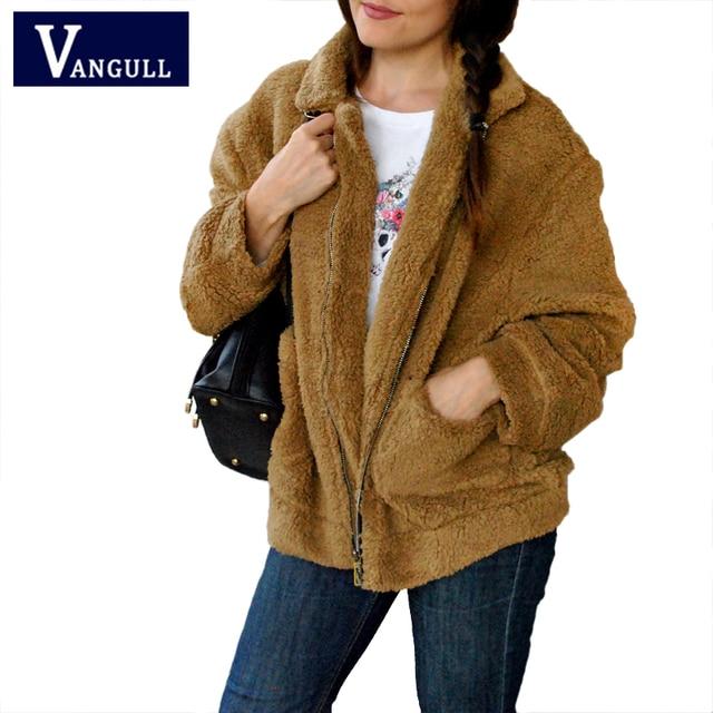 5958ee82627 Vangull Faux Fur Warm Winter Coat Plus Size S-2XL Women Fashion Fluffy  Shaggy Cardigan Bomber Jacket Lady Coats Zipper Outwear