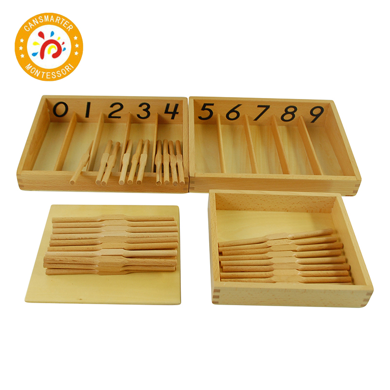 Montessori Math Materials Spindle Box With 45 Spindles For Preschool Early Learning Tool