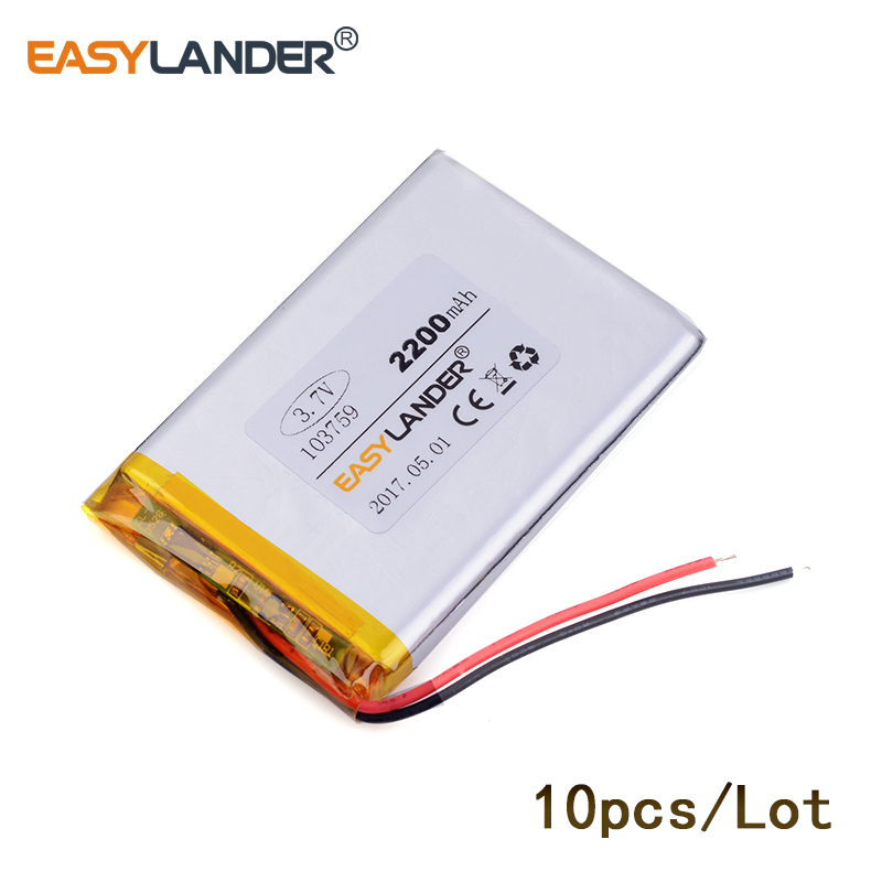 10pcs/Lot103759 2200mAh 3.7v lithium Li ion polymer recharge For Mp3 MP4 MP5 GPS PSP mobile Pocket PC e-books medical equipment