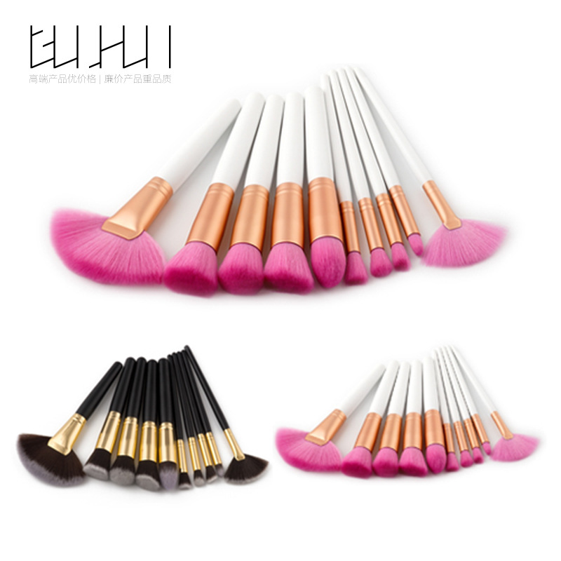 10 Make-up Brush Suit, Cosmetics Tool Fan Brush Foreign Trade Hot Selling GUJHUI Source Factory тушь make up factory make up factory ma120lwhdr04