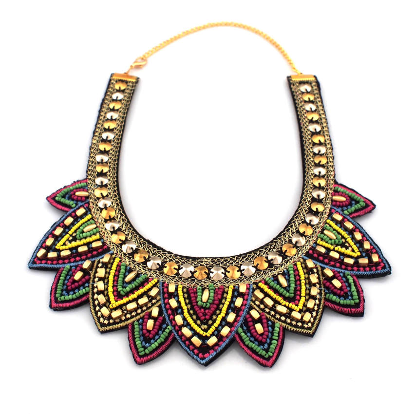 Classical Handmade Collar Necklace Women Dress Accessories Multicolor Beads Sequin Surface Charming Statement Jewelry