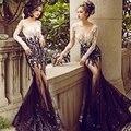 Sexy prom dress 2017 manga comprida preta champagne apliques frisados sereia vestidos