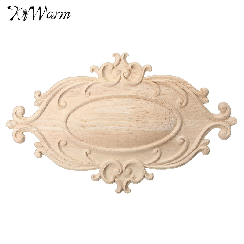 KiWarm Unique Design Wood Carved Applique Onlay Woodcarving Decal Home  Cabinet Wall Door Furniture Decor Ornaments