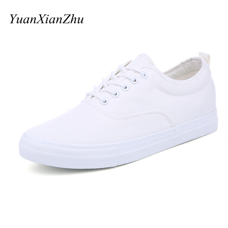 Hot Sale Men Summer Casual Shoes Fashion Black/White Canvas Mens Shoes Breathable Lace-up Flats 2018 Men Sneakers Zapatos hombre cimim brand new hot sale men flats shoes fashion mens shoes casual comfortable mens shoes large sizes 38 48 superstar zapatos