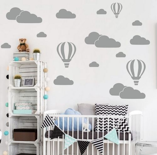 Air Balloon Clouds Wall Art Stickers Living room bedroom children ...