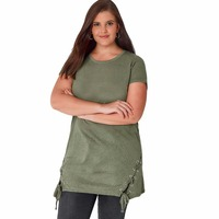 Plus Size Bandage Lace Up Legergroen T-shirt Lange Mouw Vrouwen lange Top Korte T shirts Streetwear Top Tees 5XL 6XL 7XL