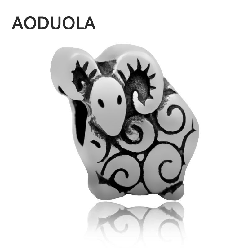 2Pcs Lot Stainless Steel goat bead Spacer Beads DIY Big Hole retro Bead for Jewelry Making Fit For Pandora Bracelet