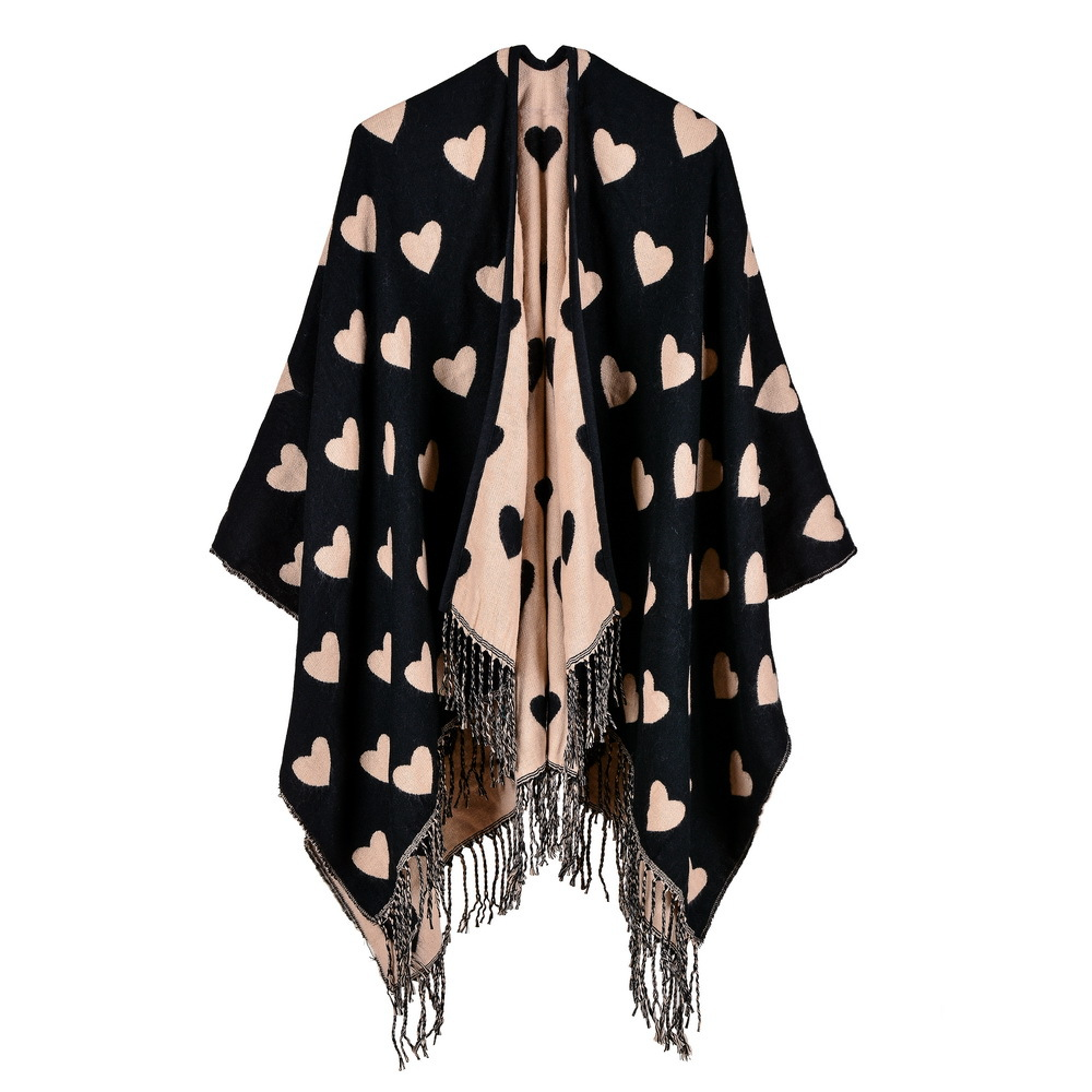 Fashion 2018 Peach pattern scarf winter poncho and capes cashmere women scarf knit thick Blanket warm Cloak oversized coat