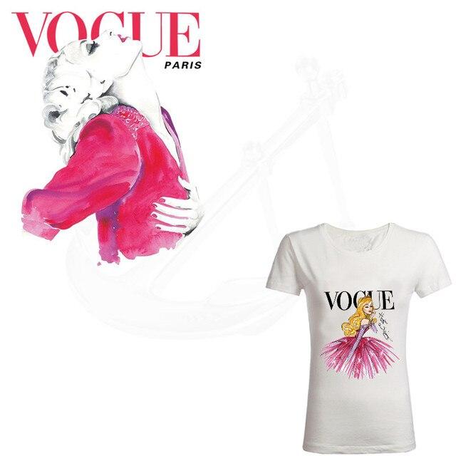 Sıcak VOGUE Karikatür modeli Yama için giyim 25*20.5 cm demir on yamalar Diy kız T-shirt termal transfer etiket