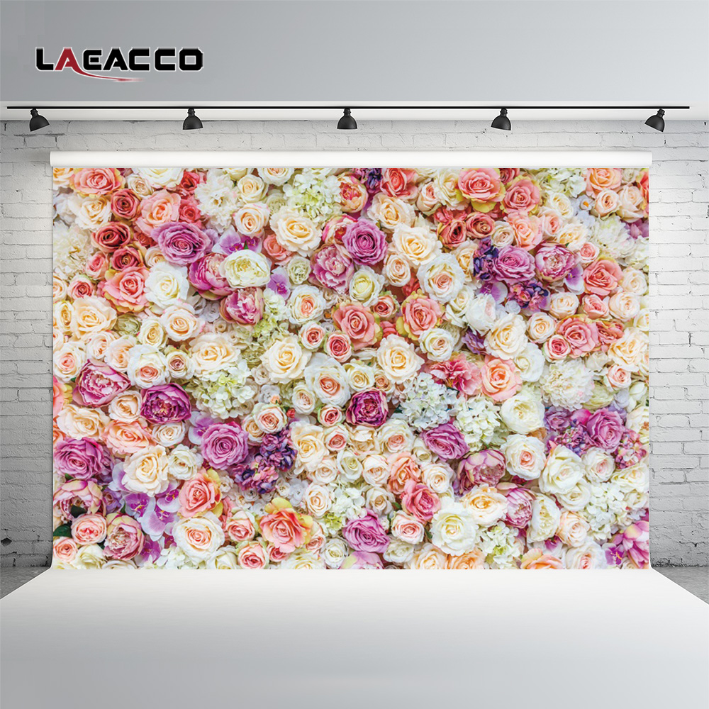 Laeacco Blooming Flowers Wall Wedding Photography Backgrounds Customized Photographic Backdrops For Photo Studio laeacco ancient stone wall flooring portrait grunge photography backgrounds customized photographic backdrops for photo studio