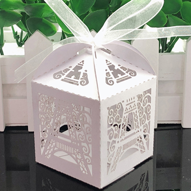 10pcs/lot Eiffel Tower Laser Cut Wedding Favors And Gift Box Wedding Candy Box Baby Shower Party Decoration Enent Party Supplies