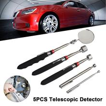 5PCS Magnetic 360 Swivel Inspection Mirror Telescopic Detector Pick-up Tool Grabber LED Light Extra Viewing Pickup