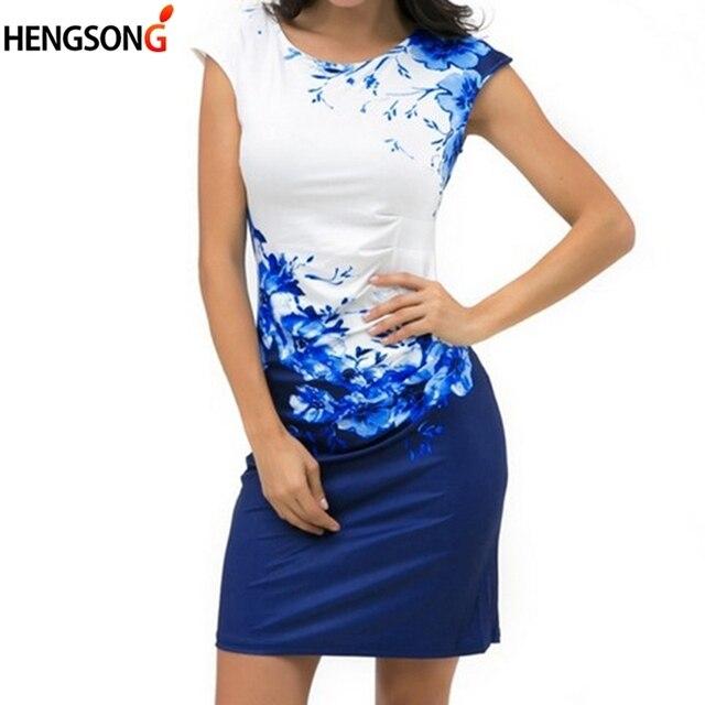96a65836140 2018 Summer Floral Women Dress Plus Size 3XL Elegant Ladies Office Party  Dress Vestido Female Slim Sheath Bodycon Dress Blue