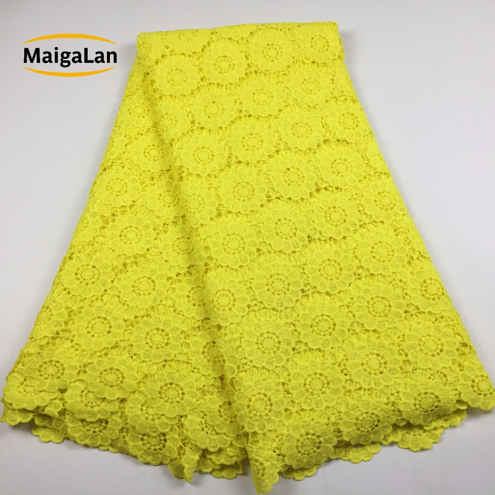 MAIGALAN Yellow African Lace Fabric High Quality nigeria lace cord lace fabric african guipure lace for