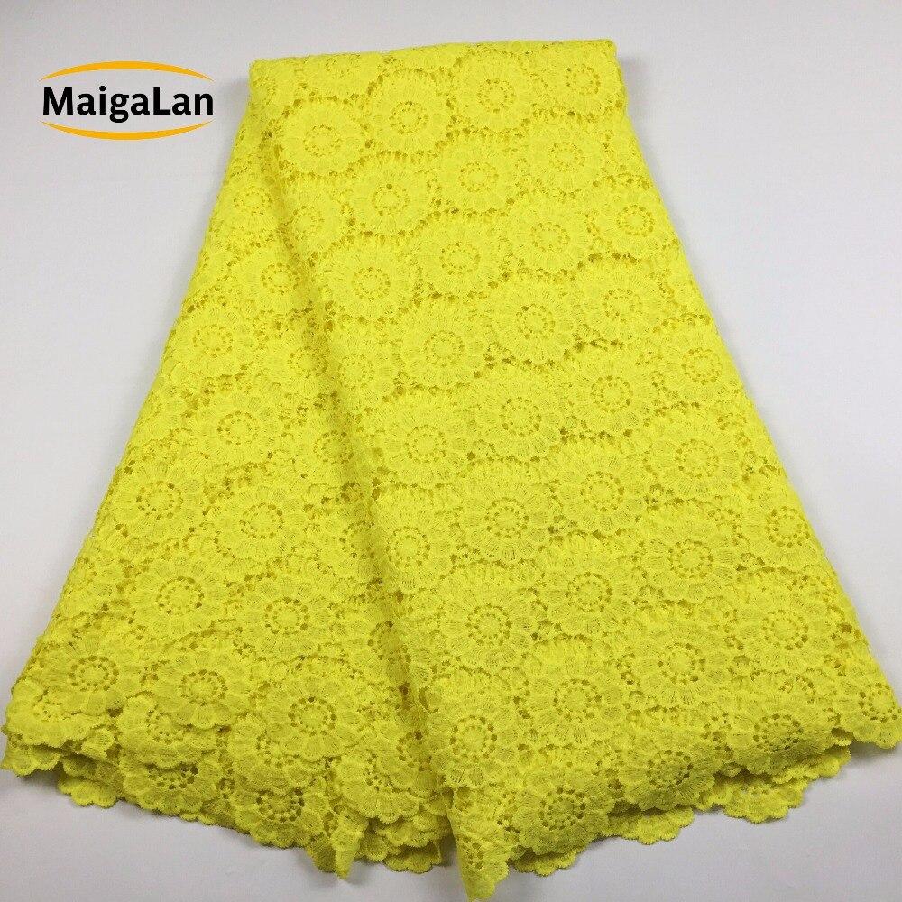 MAIGALAN żółty afryki koronki tkaniny wysokiej jakości nigerii koronki przewód koronki tkaniny afryki gipiury koronki na wesele LJ7N 781 w Koronka od Dom i ogród na  Grupa 1