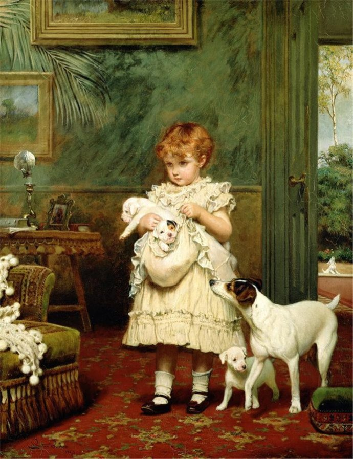Embroidery The Little Girl and the Pet Dog Needlework Cute Child 14CT Unprinted DMC DIY Cross